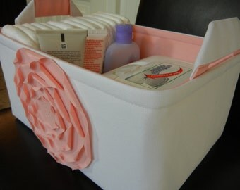 "LG Diaper Caddy(No Divider)-Toy Basket-12"" x 8"" x 6""(choose COLORS)-Baby Gift-Fabric Storage Organizer-""Pastel Pink  ROSE on White"""