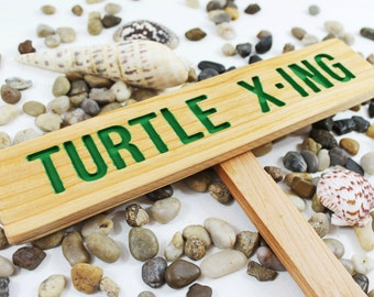 TURTLE X-ING Caution Sign, TORTOISE Yard Sign, Hand Routed Green Sign, Animal Signage, Custom Sign, Personalized Marker, Outdoor Signage