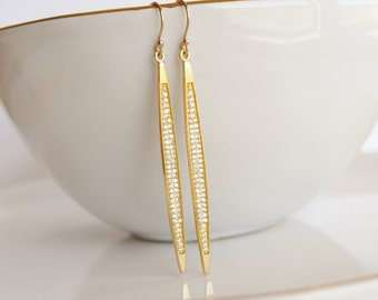 Gold CZ Pave Spike Earrings