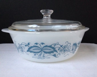 Glasbake - Blue Onion - Floral - Casserole Dish with Lid - 1 QT.