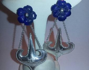 Silver earrings with lapis lazuli handmade