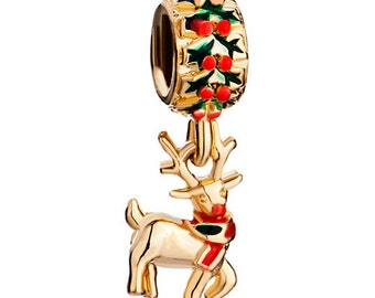Reindeer Spacer Bead  For European Style Charm Bracelet - Silver Plated