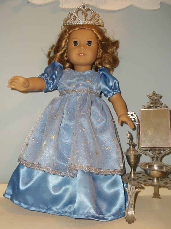 Princess dress and tiara for your 18 Inch American Girl Doll, in deep light blue color by Project Funway on Etsy