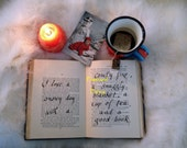 Instant Digital Download, Snow Day Photo with good book, postcard and tea