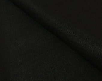 Black Washed 100% Linen Heavy Weight Fabric 260gsm 140cm wide - Sold by the metre