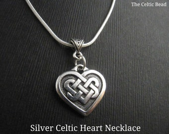 Beautiful Silver Celtic Heart Necklace