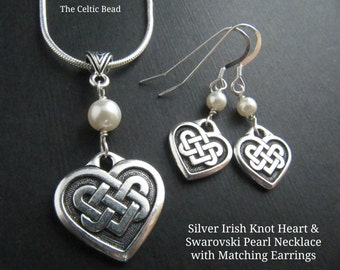 Silver Irish Knot Heart & Swarovski Pearl Necklace and Matching Earrings Set