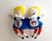 Simon and Phillip Circus Sideshow Siamese Twins Art Plush Doll Handmade and Painted OOAK- ready to ship soft sculpture