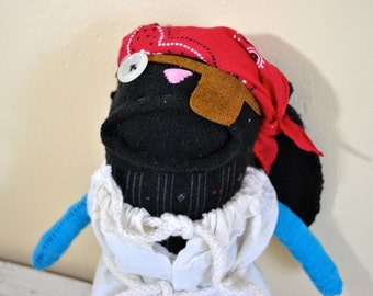 Pirate Sock Animal Puppy, Rag Doll, Hand-Stitched, Made from all Reclaimed Fabrics, Plush, Hipster Toy, Upcycled, Sustainable, Quirky,OOAK