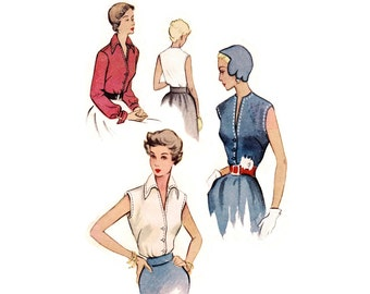 1950 Blouse Pattern McCall 8053, Rockabilly V-Neck, Sleeveless or Long Sleeved, Collar or Collarless, Vintage Sewing Pattern, Bust 32