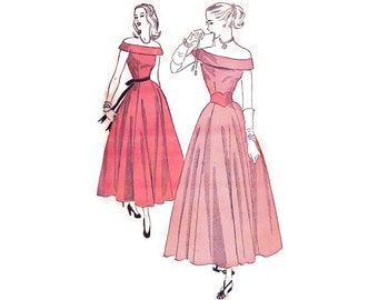 1940s Evening Gown Pattern Advance 4755, Off the Shoulder Formal with Cuffed Bodice, Teen Dress, Vintage Sewing Pattern Bust 30 Small