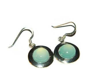 Chalcedony Earrings, Blue Stone Earrings, Sterling Silver
