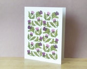 Thistles - Greeting card designed with Japanese paper collage