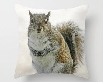 Gray Squirrel Photo Throw Pillow, Throw Pillow, Animal Pillow, Nature, Photography