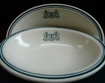 Harry M. Stevens, top marked, Scammels, vintage restaurant ware, serving oval bowls, set of two, diner