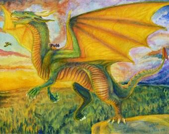 "1x blank dragon postcard ""Optimism"""