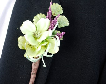 Boutonniere, boutineer, lapel flower pin, dogwood blossom, lavender