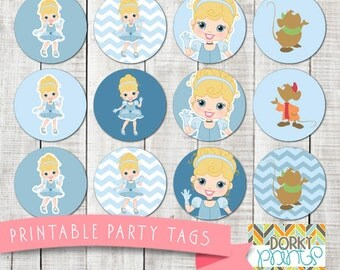 Cinderella Birthday Party Printable Circle Tags PDF - Printable Party Supplies - Princess Party DIY