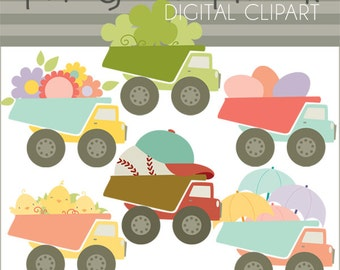 Spring Dump Truck Clipart -Personal and Limited Commercial Use- spring clipart, dumptruck clipart