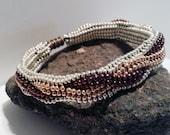Metallic Interwoven Herringbone Bracelet - Hand Beadwoven