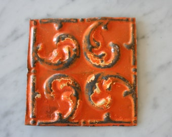 One Upcycled Antique Architectural Ceiling Tile - Orange Scroll Motif