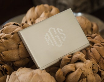 Coworker Gift Monogram Card Case with Brushed Satin Finish Personalized Business Card Holder, Gifts Under 20, Groomsman Gift
