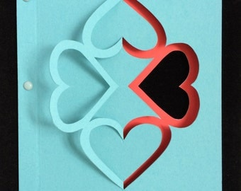 Teal Four Heart Card