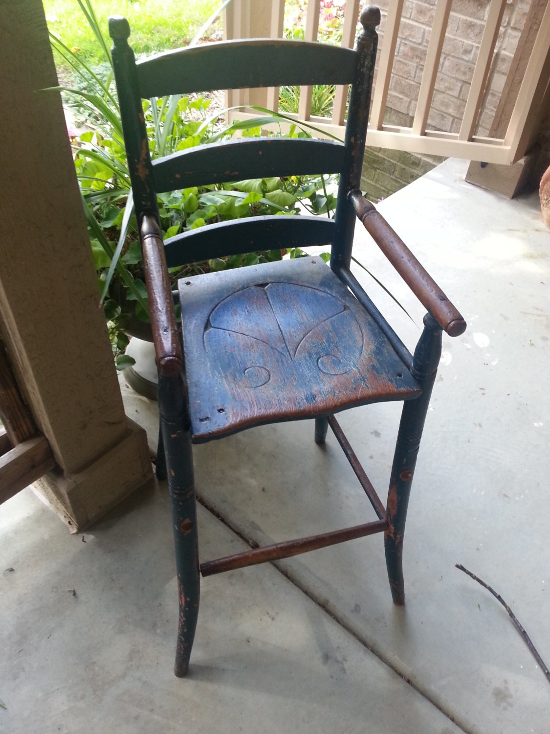 Rare primitive antique child s youth chair highchair