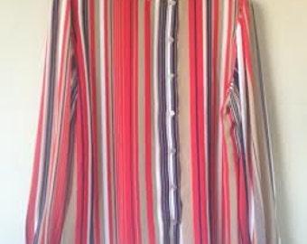 Striped Chiffon 70s style Blouse with gathered 3 Button Cuff
