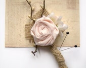 Wedding Boutonniere, Blush Pink, Fabric Boutonniere, Groomsmen, Wedding Party, Burlap, Rustic, Silver, Vintage Style, Customized Boutonniere