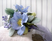 Wedding Bouquets, Bridal Bridesmaids, Silk Wedding Flowers, Blue Lavender, For the Bride, Rustic Chic, Blue Clematis, Thistle, Barn, Outdoor