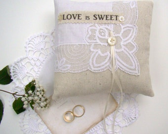 Rustic Country Ring Bearer Pillow, Vintage Handkerchief Ring Cushion, Vintage Wedding, Wedding Pillow, Ivory Bridal, Wedding Ceremony