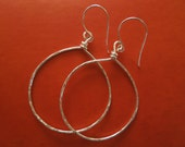 Hand Hammered Silver Hoop Earrings