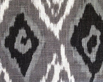 Grey Linen Ikat Fabric By The Yard Modern Black White Ikat Curtain Ikat Home