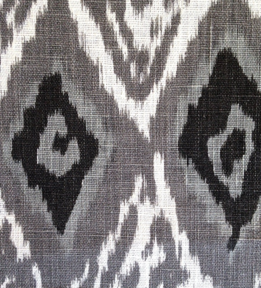 Grey Linen Ikat Fabric by the Yard Modern Black White Ikat