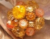Vintage 60's Crackle Autumn Brooch