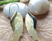 """Tribal Hanging Earrings, """"Jolene"""" Naturally Organic, Mother of Pearl, Brass Tops, Sterling Silver Posts, Hand Carved"""