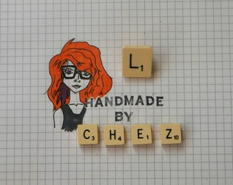 L Scrabble Tile Pin