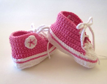 High top baby sneakers Hand Crocheted READY TO SHIP