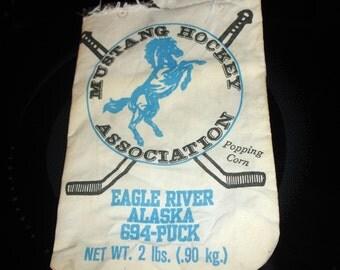 Collectible PopCorn Vintage Feedbag Memorabilia  Mustang Hockey Association circa 1980s