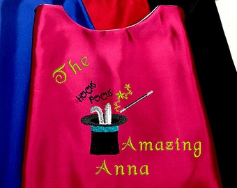 Kid's Cape,  The Amazing Magician Cape with your child's Name  Embroidered Personalized Superhero cape
