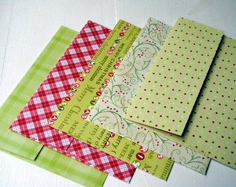 Christmas Patterned Set of 5 Handmade Cardstock Envelopes by Paper Hearts Station on Etsy