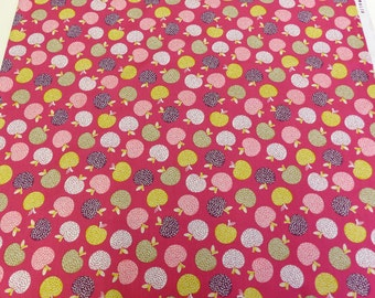 Bright pink fabric with apple print, Tossed apples from dashwood studio, quilting cotton