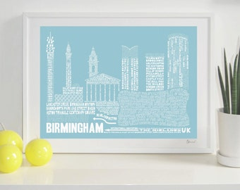 Birmingham Skyline Typography Print