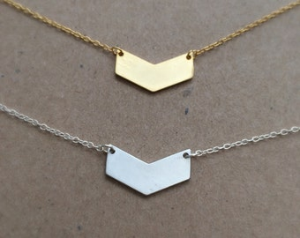 Chevron Necklace, silver plated, rhodium plated, gold plated, simple, gift, everyday