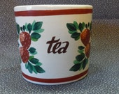 Ceramic Canister Tea Holder Strawberry and Leaf Design 1950's Kitchen Decor Hand Painted Country Chic