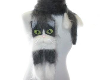 Tuxedo Cat / Knitted Scarf / Fuzzy Soft Scarf / Dark gray white сat / cat scarf / knitted cat scarf / Knit scarf / animal scarf