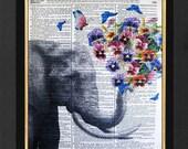 Elephant Pansy Boquet -Elephant Print, Elephant Humor,Mixed Media print on 8x10 Vintage Dictionary page, Dictionary art, Dictionary print