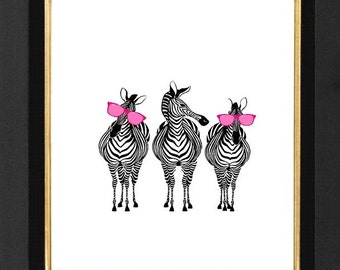 "Zebra Print, Zebra Humor, Zebra Pink Sunglasses ""Mixed Media print, Archival Print,8x10,Decorative art, illustration, POSTER size 8x10"