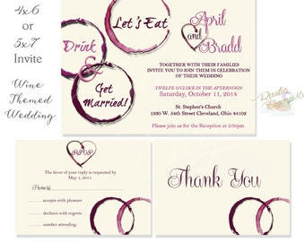 Three Piece Set Wine Wedding Invitation-Vineyard/Tuscan-Printable-Digital File--Invite--Thank Yous--Rsvp Cards
